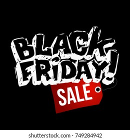 Black friday hand-drawn sale banner. vector template