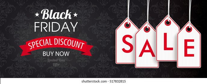 Black Friday header with price stickers on the black background with ornaments. Eps 10 vector file.