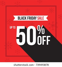 Black Friday Holiday Up To 50% Off Sale Advertisement Square Template Vector Illustration Over Red Background with Snowflakes