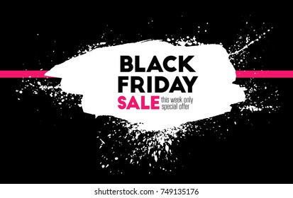 Black friday. Holiday sale. Border frame/ Big shopping. Ink painting. Hand drawn. Vector artwork. Black, white, pink. Watercolor paint. Poster, banner, print. Advertising design, branding, logo label