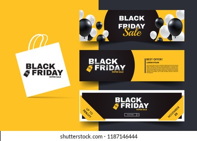 Black friday horizontal promotion web banner set. Sale banners design template. Yellow and black geometric background. Black and white balloons. Minimalistic discount flyers.Vector illustration