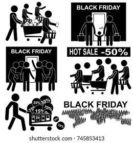 Black Friday Hot Sales Concept. Stick Figure Pictogram Icon