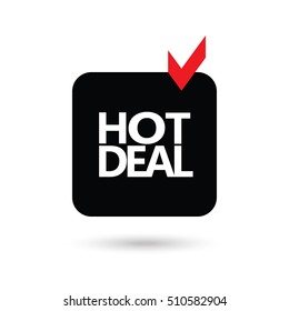 Black Friday icon. Hot Deals. Hot Deal icon. Label Sale. Hot Price ribbon. Hot Deal logo design. Sale discount banner for marketing. Vector Shopping. Discount - banner isolated. Marketing. Advertising
