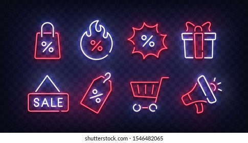 Black Friday icon set isolated. Sales line icons. Outline icon collection. Bright signboard. Vector illustration