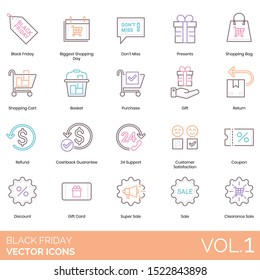 Black friday icons including biggest shopping day, dont miss, presents, bag, cart, basket, purchase, return, refund, 24 support, customer satisfaction, coupon, discount, gift, super sale, clearance.