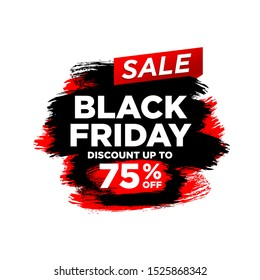 Black Friday inscription on abstract ink blots for sale and discount. - Vector