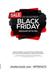 Black Friday inscription on abstract ink blots for sale and discount, template for your banner or poster.