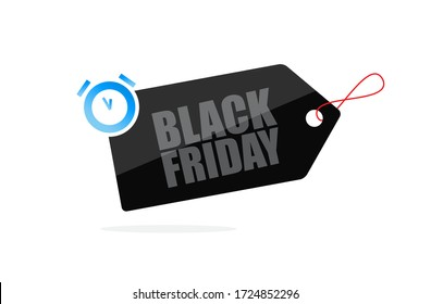 Black Friday label design for a shopping day with discounts. Black Friday sign design. Vector illustration.