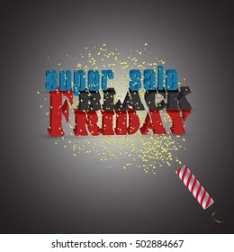 Black Friday, large letters, confetti, poster. vector illustration