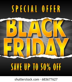 Black friday lettering on dark background with torn paper decoration