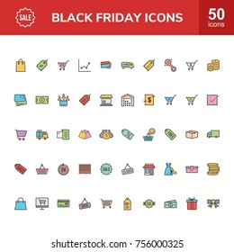 Black Friday Line Filled Icons