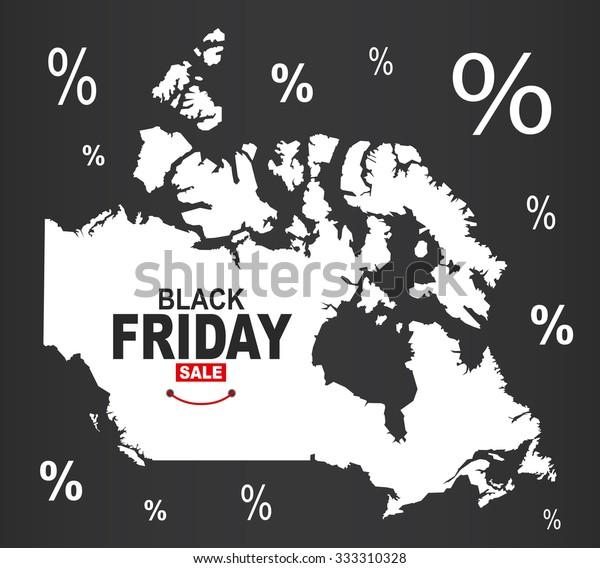 Black Friday Map Canada Stock Vector Royalty Free 333310328