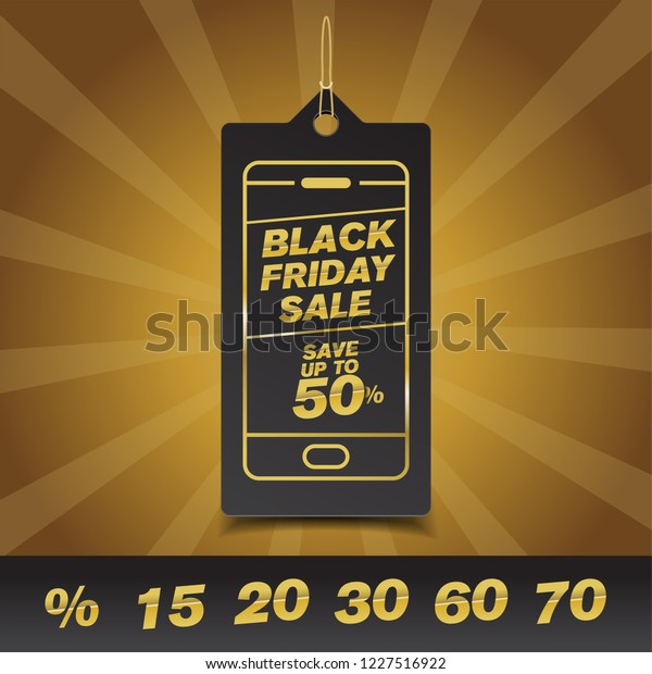 Black Friday Mobile Concept Sale Discount Stock Vector
