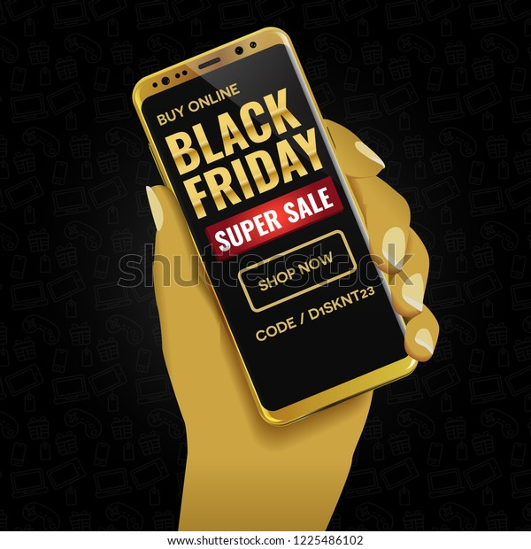 Black Friday Mobile Online Shopping Deals Stock Image