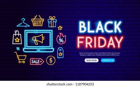 Black Friday Neon Banner Design. Vector Illustration of Shopping Sale Promotion.