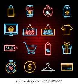 Black Friday Neon Icons. Vector Illustration of Shopping Sale Symbols.