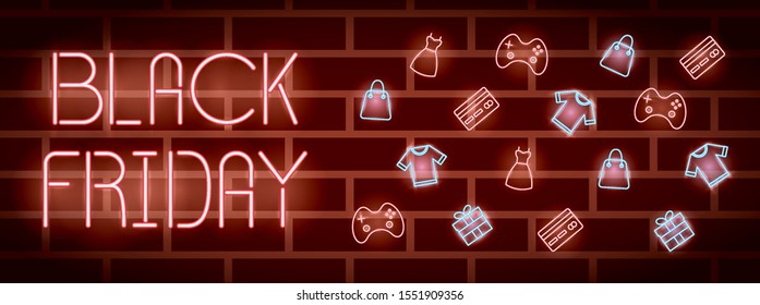 black friday neon label with set icons vector illustration design