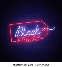Black Friday neon sign, bright signboard, light banner. Big sale logo, emblem. Vector illustration