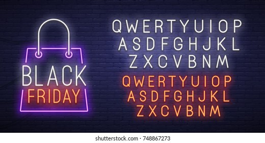 Black Friday neon sign, bright signboard, light banner. Black Friday logo, emblem and label. Neon text edit