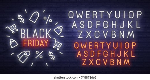 Black Friday neon sign, bright signboard, light banner. Black Friday logo, emblem and label. Neon sign creator. Neon text edit