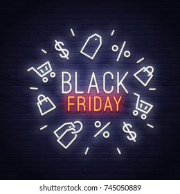 Black Friday neon sign. Sale banner, logo, emblem and label. Neon sign, bright signboard, light banner.