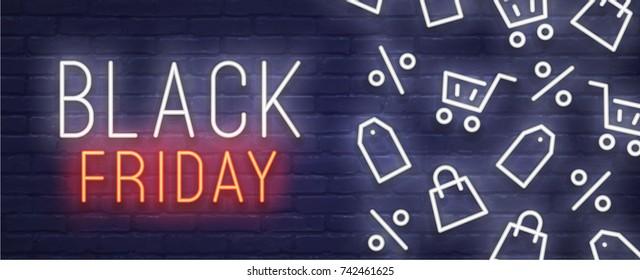 Black Friday neon sign. Web banner, logo, emblem and label. Neon sign, bright signboard, light banner.