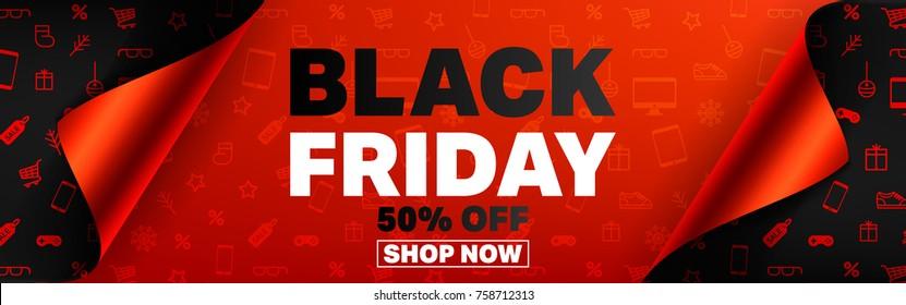 Black Friday Poster oder Banner mit offenem Geschenkpapier und Shopping-Icons Konzept.Vektorgrafik EPS10