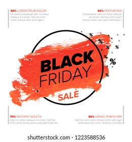 Black Friday poster flyer template - red watercolor splash with black text