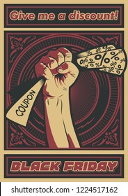 Black Friday Poster Obey Stylization Fist and Discount Coupon
