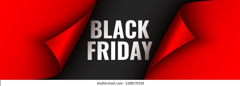 Black Friday poster. Red ribbon with curved edges on black background. Sticker. Vector illustration.