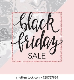 Black friday poster template with trendy marble and pink background and hand lettering
