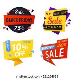 Black friday price discount tags for sale. Special offer label icons or promo coupon, sticker for best offer. Shop or store, supermarket  black friday advertising, weekly retail or sale