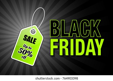 Black friday price tag with bargain discount text SALE Up to 50% off