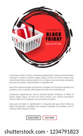 Black Friday price tag with shopping cart and gift box vector web page template, text sample. Round label, hottest November total sale event with discounts