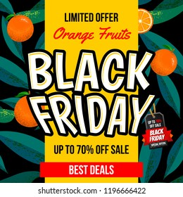 Black friday promotional poster with Floral Pattern with orange background. Can be used and suitable for gift cards, banners, wallpapers, backgrounds, patterns, websites, and invitations