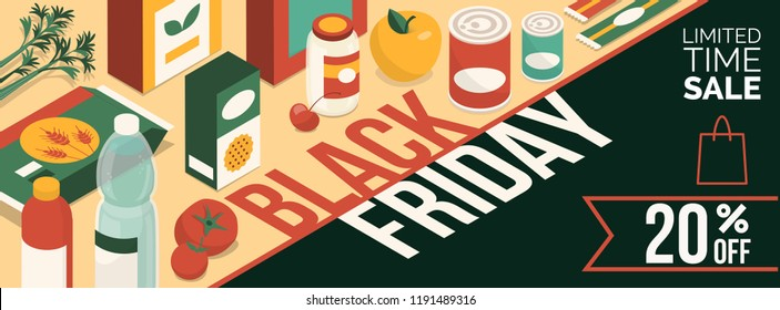 Black friday promotional sale banner with products and discount: grocery shopping and food
