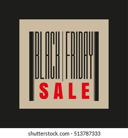 Black Friday red and black barcode inscription. Sale concept. Vector illustration.