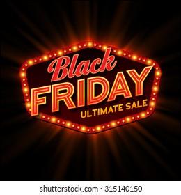 Black Friday retro light frame. Vector illustration