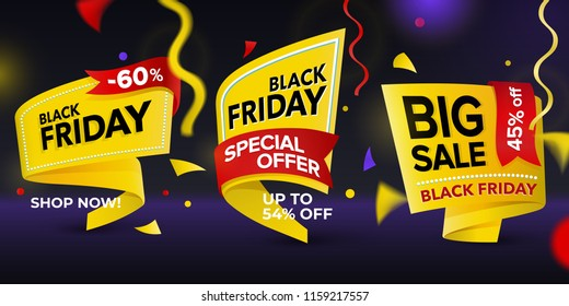 Black Friday sale 2018. Set of beautiful discount and promotion tags. Realistic curved paper labels. Advertising elements. Set of yellow colored stickers and banners. Sale banner tags.