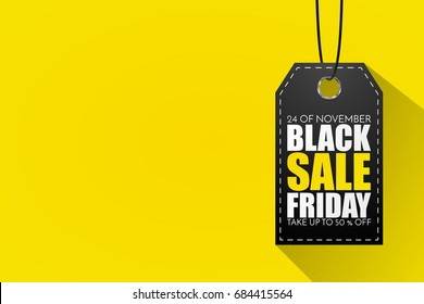 Black Friday Sale Abstract Background. Vector Banner. Price tag on yellow background in flat style.