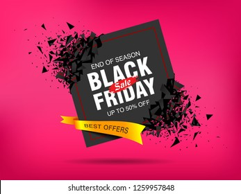 Black Friday Sale abstract banner template design. Banner with explosion effect. Vector illustration Background