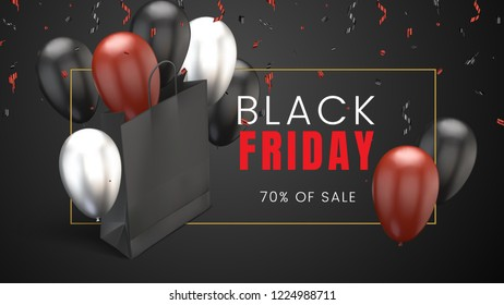 Black friday, sale abstract dark background with red and white balloons, confetti and shopping bag, can be used for business promotion, advertising campaign and sales. Vector illustration