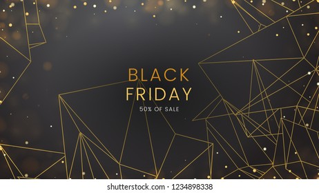 Black friday, sale abstract dark background with glowing lights and polygonal contours, can be used for banner, advertising billboard and web header. Vector illustration