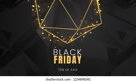 Black friday, sale abstract dark background with glowing lights and polygonal contours, can be used for advertising billboard, banner and poster. Vector illustration