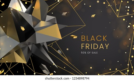Black friday, sale abstract dark background with polygonal shapes, contours and glare, can be used for e-commerce, advertising campaign and typography. Vector illustration