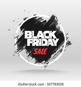 Black friday sale. Abstract grunge black brush stroke and round frame. Vector illustration