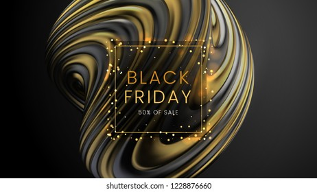 Black friday, sale abstract motion background with glare golden frame, can be used for e-commerce, advertising flyer, poster and web banner. Vector illustration