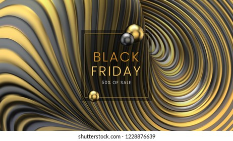 Black friday, sale abstract twisted motion background with sphere and golden frame, can be used for e-shopping, e-commerce and advertising flyer. Vector illustration