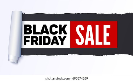 Black Friday Sale action banner, poster. Sellings ad information over realistic torn paper backdrop. Torn strip of paper with uneven, torn edges. Coiling torn strip of paper. Template for business.