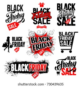 Black Friday Sale advertising label and emblems set. Vector illustration.